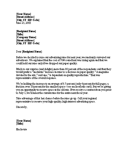 sample notice of rate increase letter template