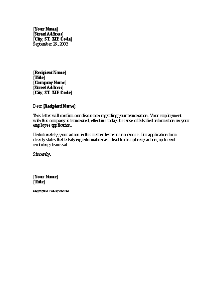 Falsifying Information Termination Notice Template
