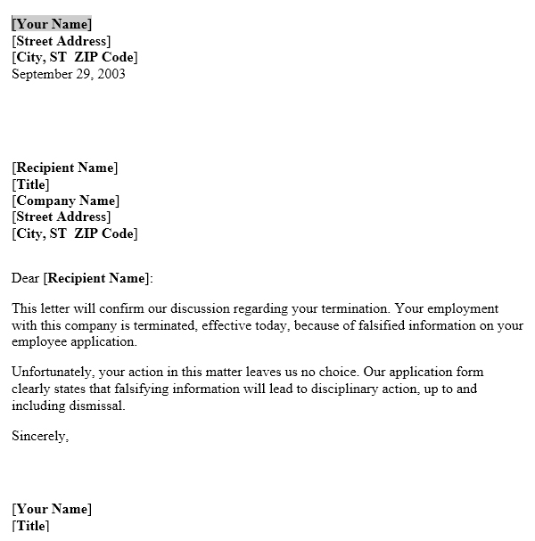 falsifying information termination notice template useful letters