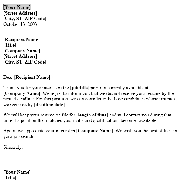 letter to recipient who apply after the last date useful letters
