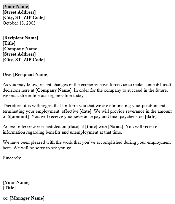 Notice Of Layoff Letter Template  Useful Letters Templates