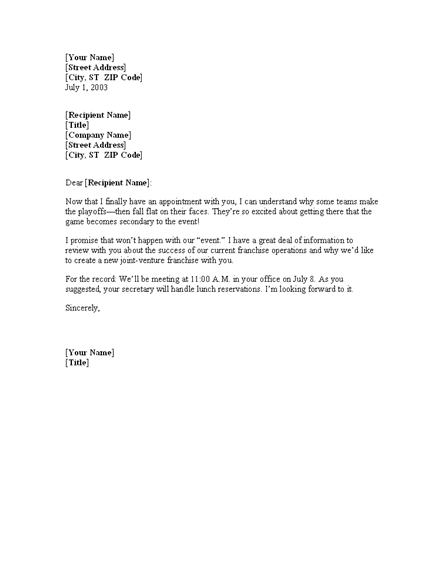 Meeting Confirmation Letter Template | Professional Letters Templates