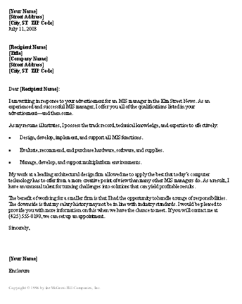Management Consultant Cover Letter, Manager Resume Cover Letter, MIS ...